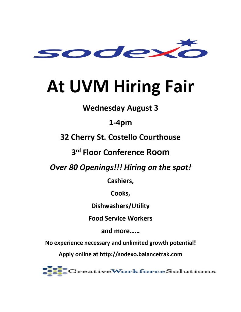 At UVM Hiring Fair