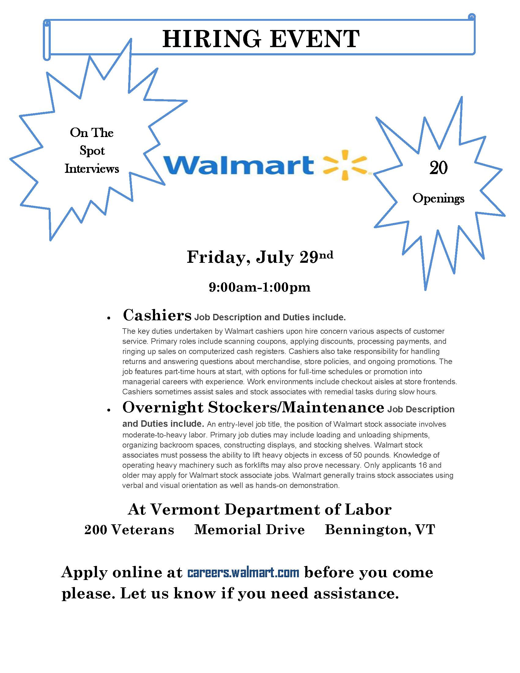 hiring event bennington the vermont association of business walmart 7 29 hiring event overnight jobs at - Walmart Overnight Jobs